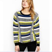 Free shipping!2014 fashion british style Ladies' elegant geometric Pattern stripe cotton sweater sweater female brand designTop