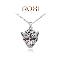 Womens Mens Retro Vintage Punk Rock Hip Hop Jewelry Necklace Rose Gold / White Gold Filled Red Crystal Eye Tiger Head Pendant