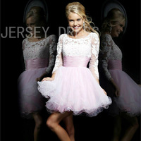 Princess Ball Gown Evening Puff Cute Design Long Sleeve Backless Organza Short Dress 2 Colors for Option E9228 30
