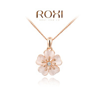 Factory Sell ROXI 2014 New Fashion Jewelry Rose Gold Plated Statement Flower Clover Wintersweet Necklace For Women Party Wedding