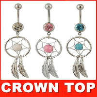 2014 Fashion Crystal Gem Dream Catcher Dangle Belly Ring Bory Art Body Jewelry 3pcs/LOT Free Shipping