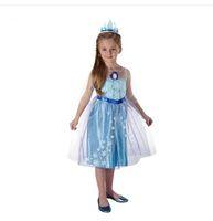 2014 Frozen Elsa Anna Princess Character Costume for girls children clothing christmas halloween fancy outfit blue dress