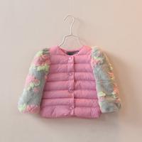 Gentlewomen 2014 autumn and winter baby girl flower o-neck cotton-padded jacket child short wadded jacket outerwear