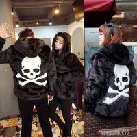 colete pele Skull pattern lovers imitation mink fur coat fur male Women Couples slim outerwear
