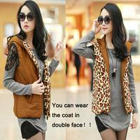 Autumn winter women's fashion waistcoat leopard print down vest women warm cotton jacket large size M LXLXXL free shipping
