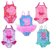 Peppa Pig girls bathers children swimming wear 2014 new biquini infantil swimsuit baby peppa pig bathing suit for girls swimwear