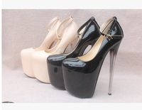 New 20CM High Heeled Shoes, Waterproof Platform Patent Leather Woman Single Crystal Shoes high-heeled shoes 3219