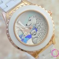 new fashion good quality woman lady girl real ceramic band case white north polar bear 3d engrave dial quartz Watch Wristwatch