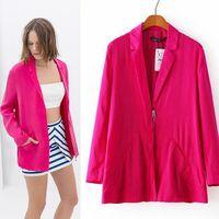 2014 New Fashion Women's Elegant Boyfriend Style Zipped Rose Jackets Coats Casual Ladies Long Blazers feminino PS0589