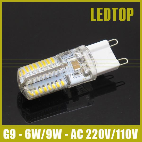 1pcs 220V 110V smd 3014 G9 LED 6W 9W LED Corn Light Bulb Super bright 360 degree Replace 30W Halogen Lamp mini candle spotlight(China (Mainland))