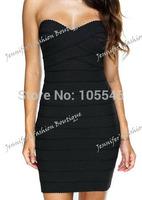 2014 new fashion love girl Strapless bandage fashion evening party dress black white baby blue