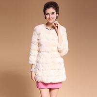 2014 autumn and winter real natural rabbit fur overcoat coat medium-long high quality buck women's wool overcoat white