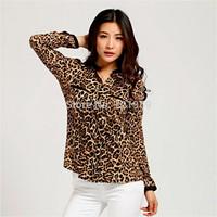 Free shippingSpring and Autumn Korean Women Leopard silk V-neck white shirt big yards long sleeve shirt loose stars chiffonshirt