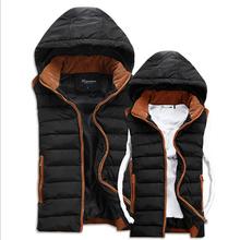 Men Casual Vest Down Coat Autumn Winter New Fashion 2014 Sleeveless Hooded Slim Plus Size Outerwear XXXL ZB2020(China (Mainland))