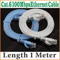 BEST PRICE BEST QUALITY New 3FT 1M CAT6 CAT 6 Flat UTP Ethernet Network Cable RJ45 Patch LAN Cord wholesale,Free Shipping, PROM-