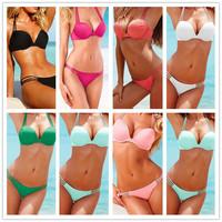 BK138 Women Bikini Set New 2014 Push Up Sexy Swimwear Good Quality 8 Color Solid Color Swimsuit Free Shipping