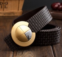 100% nice quality cowskin vintage genuine leather men belts for men,cinto masculino metal pin buckle free shipping