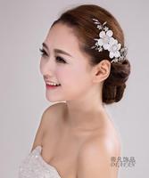 Wedding bridal headdress frontlet Korean retro flower hair ornaments head side clip rhinestone jewelry flower accessories