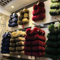 2014 Genuine fur o-neck fox fur raccoon fur vest medium-long & short waistcoat autumn and winter outerwear