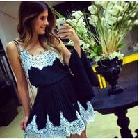 vestidos de renda Women in black dress white lace stitching