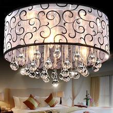 Moderne kurze stoff schwarz lampenschirm kristall kronleuchter ac90-260v Durchmesser 40cm hoch 28cm 3* e14 lichtquelle versandkostenfrei(China (Mainland))