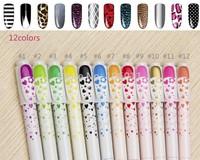 2014 new high quality hot nail pen design professional nail lacquer painting pen pen nail tools 8 / sets , 8Colors