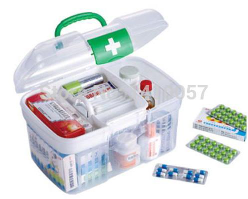 2015 hot selling Transparent medicine box child care first aid kit multifunctional drug handle belt seal storage box(China (Mainland))