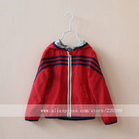 8810-52 Wholesale New 2014 Spring AutumN Boys Jackets Striped Sport Solid Color Hooded Boys Outerwear & Coats Causal Jacket