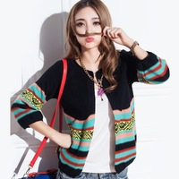 2014 Cardigans Casual autumn of on the new arrival limited promotion hot sale national wind spell color knit cardigan coat loose