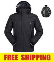 cotton inner Outdoor Windproof  Waterproof Camping Hiking ski snowboard Jacket coat Outerwear clothes Hoodies Sportwear for men