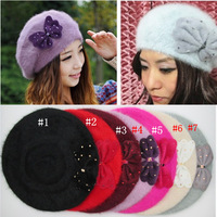 M034 --2015 Winter warm women bowknot hats Fashion rabbit fur beret hat free drop shipping