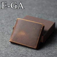 2014 Free Shipping Crazy horse leather wallet For Men Top Sales handmade cowhide material vintage purse
