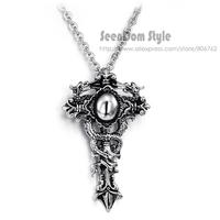 Super Cool Men Cross Colar Top Quality Titanium Steel Vintage Sword Necklace SeenDom Jewelry SDTN001