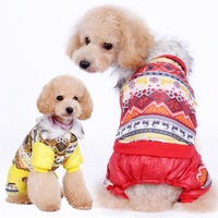 Drop Shipping Pet Dog Snowflake Print Winter Coat Puppy Clothes Cotton Padded Coral Fleece Hoodie Jacket New Free shipping gifts