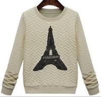 2014 New Cream / black Eiffel Tower blouse cotton  femme hoody  shirt