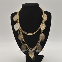 European and American Style, Vintage Leaves Multi-layer Alloy Bohemia Long Necklace, Fashion Jewelry Y50 MHM239#M5