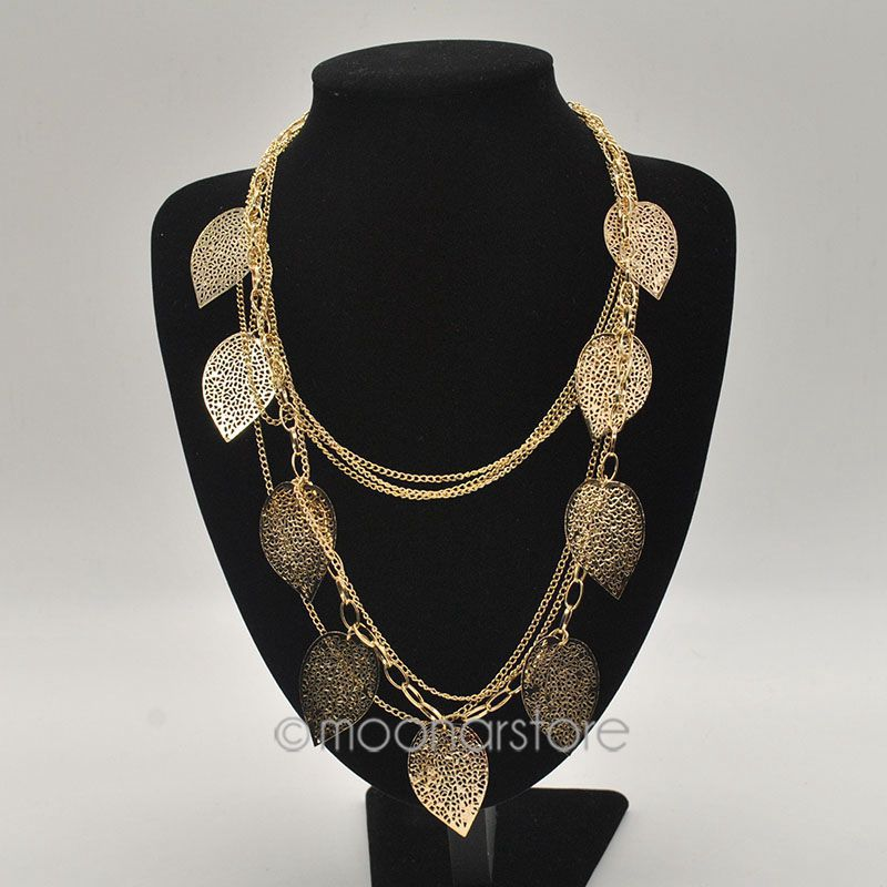 Fashion Jewelry Vintage Bohemian Necklace Leaves Multi Layer Necklace Gold Bohemia Charm Long Necklace Chain Y50*MHM239#M5(China (Mainland))