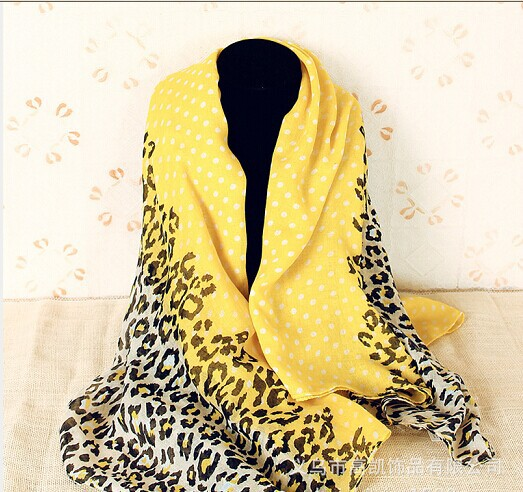 2014 fashionable leopard print Bali yarn fluorescent yellow scarf cotton scarf free shipping(China (Mainland))