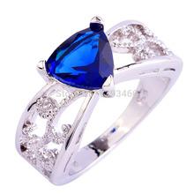 Wholesale Triangle Cut Sapphire Quartz 925 Silver Ring Size 6 7 8 9 10 11 12 New Design New Fashion Jewelry 2014 Gift  For Women