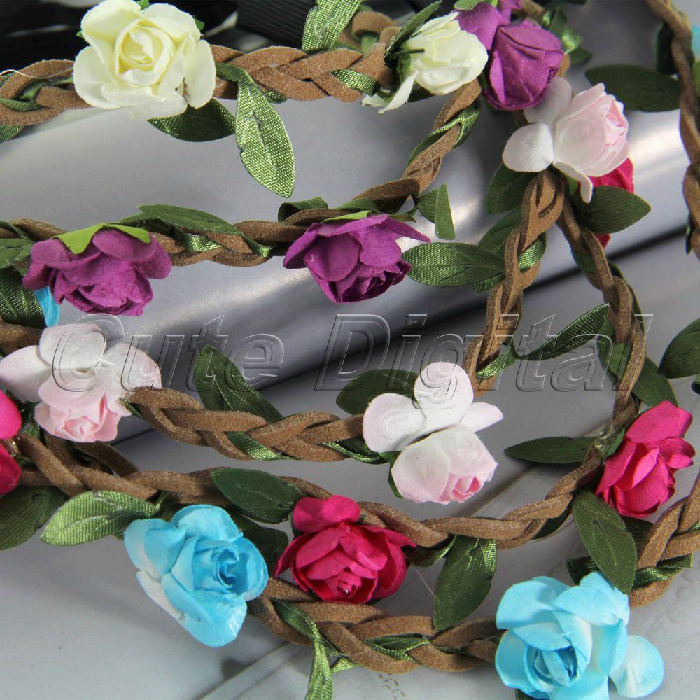 Hot Women Girl Bride Hair Wreaths Flower Headband Rose Crown Forehead Floral Hair Band for Party Wedding Headband Hair Band(China (Mainland))