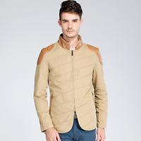 2014 autumn and winter fashion designer brands thick collar casual cotton men's outdoor warm coat jacket Slim