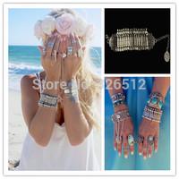 1pc lady Charms lobster clasp VTG Silver Gypsy Statement Boho Coachella Festival Turkish Wrap Chain Men Bracelet jewelry