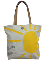 High Quality Deluxe Heavy Duty Cotton Canvas Beach Tote HandBag Golden Sunshine Printing