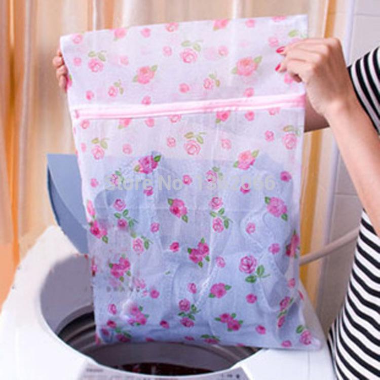Three Size Nylon Printed Laundry Bag Net Mesh Hosiery Bra Lingerie Zipper Laundry Bag Protect Clothes Wash Bags MRL0010(China (Mainland))