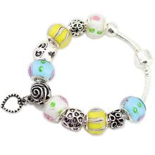 925 Silver Dangle Love Heart Charms Pulseiras European Murano Glass Beads Love Bracelet+Gift Pouch PBS101(China (Mainland))