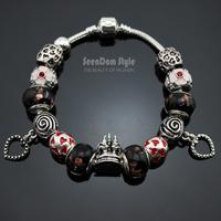 925 Silver Enamel CZ Stone Flowers Charms Dangle Heart Pulseiras European Murano Glass Beads Bracelet+Gift Pouch PBS106