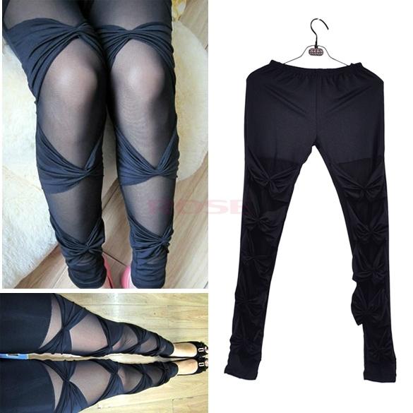 Autumn Black Fashion Women's Sexy Bow Mesh Legging Winter Lady High-Waist Ripped Stretch Pants(China (Mainland))