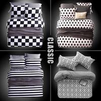 2014 Sale Rushed Roupa De Cama Luxury Bedding Set Size king twin size Bed Set Linen Duvet Cover Sheet &Black white#y30-1