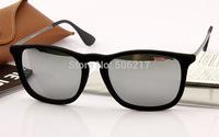 Hotselling new wayfarer sunglasses rb Chris 4187-F Velvet frame black mirror sunglasses men women fashion brand name glasses