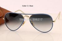 BRAND NEW men women aviator sunglasses 3025 JM AVIATOR FULL COLOR 001/4M rb blue /w gold metal gray gradient 58mm in box